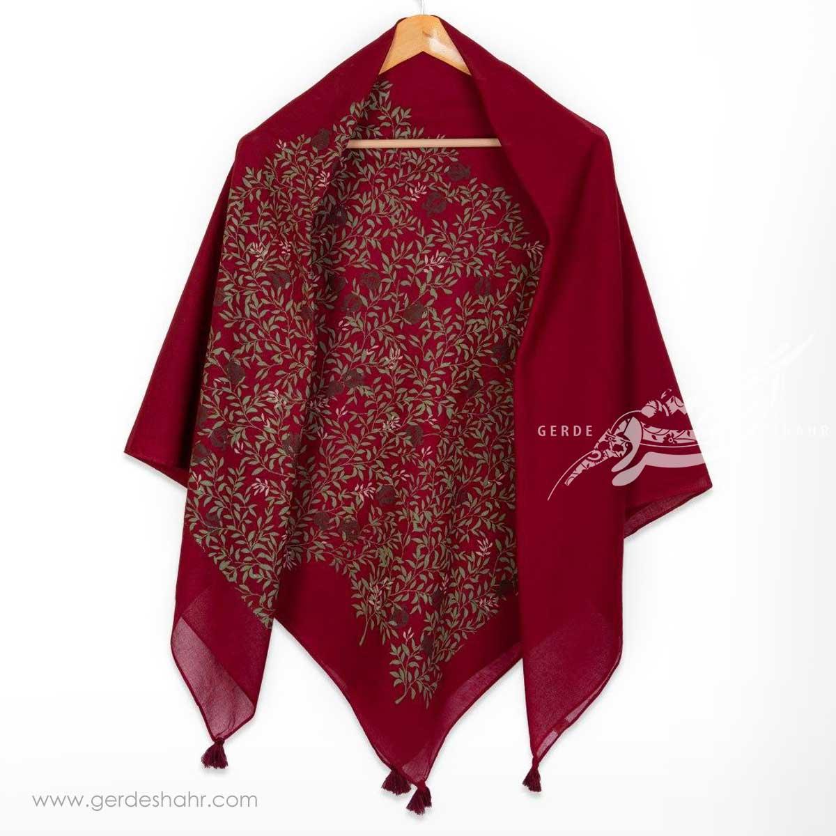 مشخصات، قیمت و خرید اینترنتی روسری نخی زرشکی طرح ناردون سایز بزرگ گدار