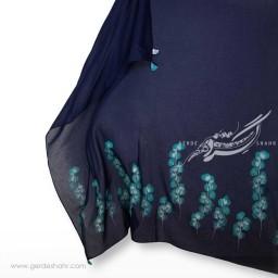 مشخصات، قیمت و خرید اینترنتی روسری نخی سرمه ای طرح برگ نو سایز بزرگ گدار