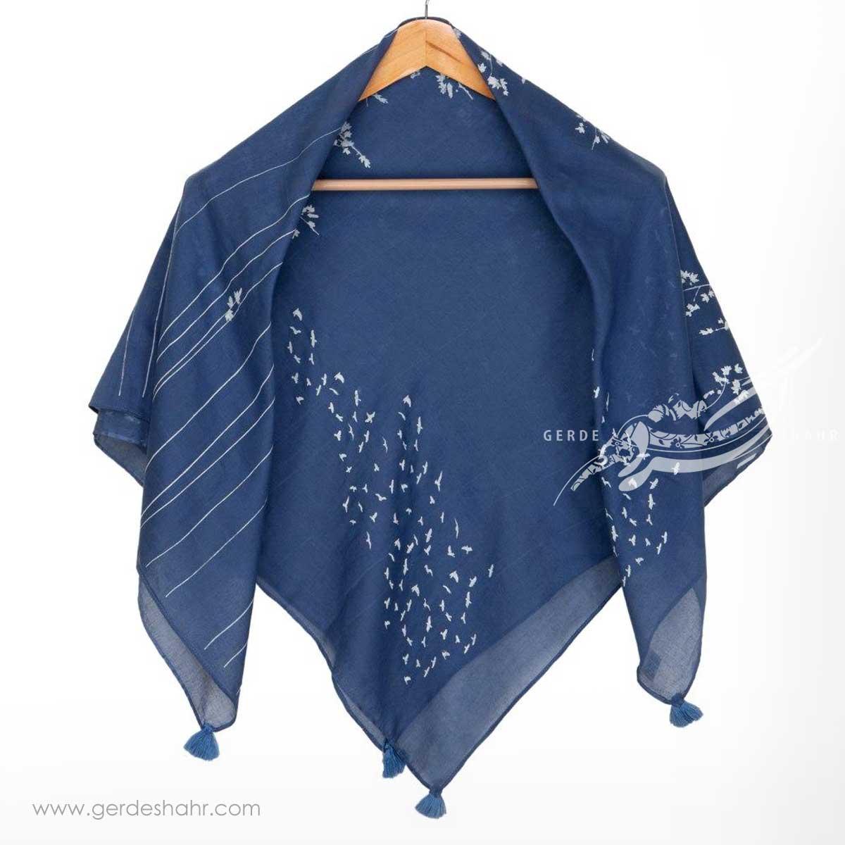 مشخصات، قیمت و خرید اینترنتی روسری نخی آبی طرح چنارستان سایز کوچک گدار