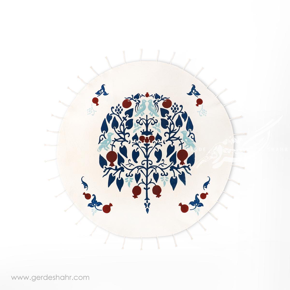 رومیزی دایره درخت انار سورمه ای قطر 60 گدار محصولات