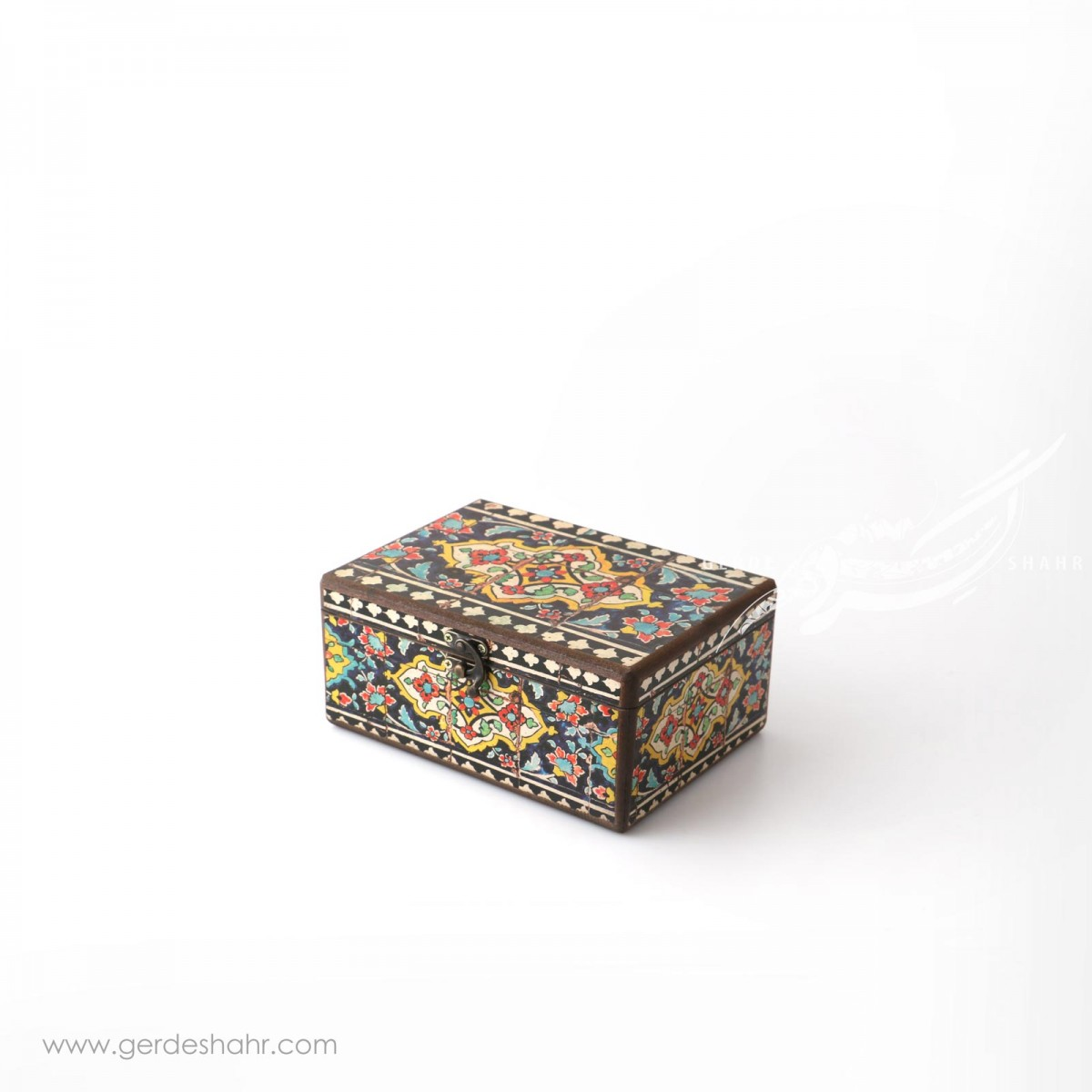 جعبه چوبی نقش کاشی سایز 15*20 هفتگان اکسسوری
