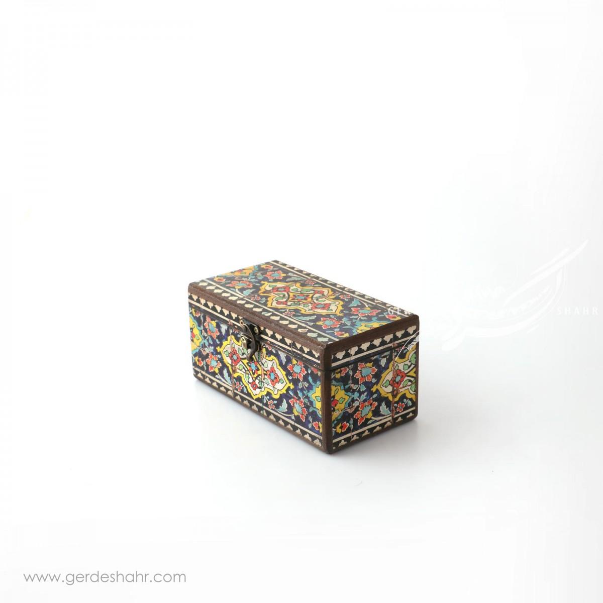 جعبه چوبی نقش کاشی سایز 10*20 هفتگان اکسسوری