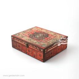 جعبه چوبی قالیچه سایز 25*30 هفتگان اکسسوری
