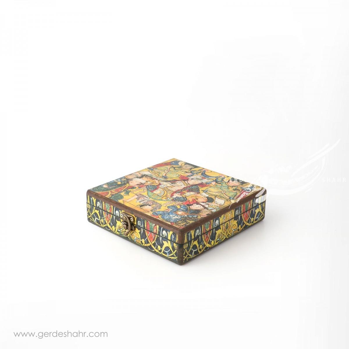 جعبه چوبی کتابی بزم شاهی هفتگان جعبه و صندوقچه