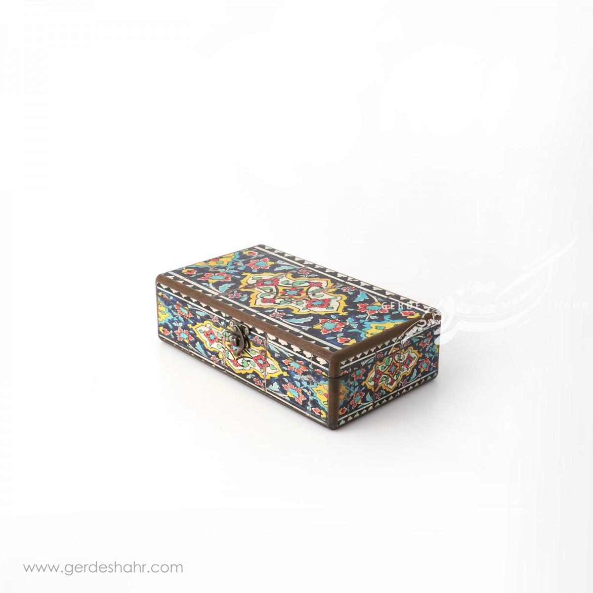جعبه چوبی جاقاشقی نقش کاشی هفتگان جعبه و صندوقچه