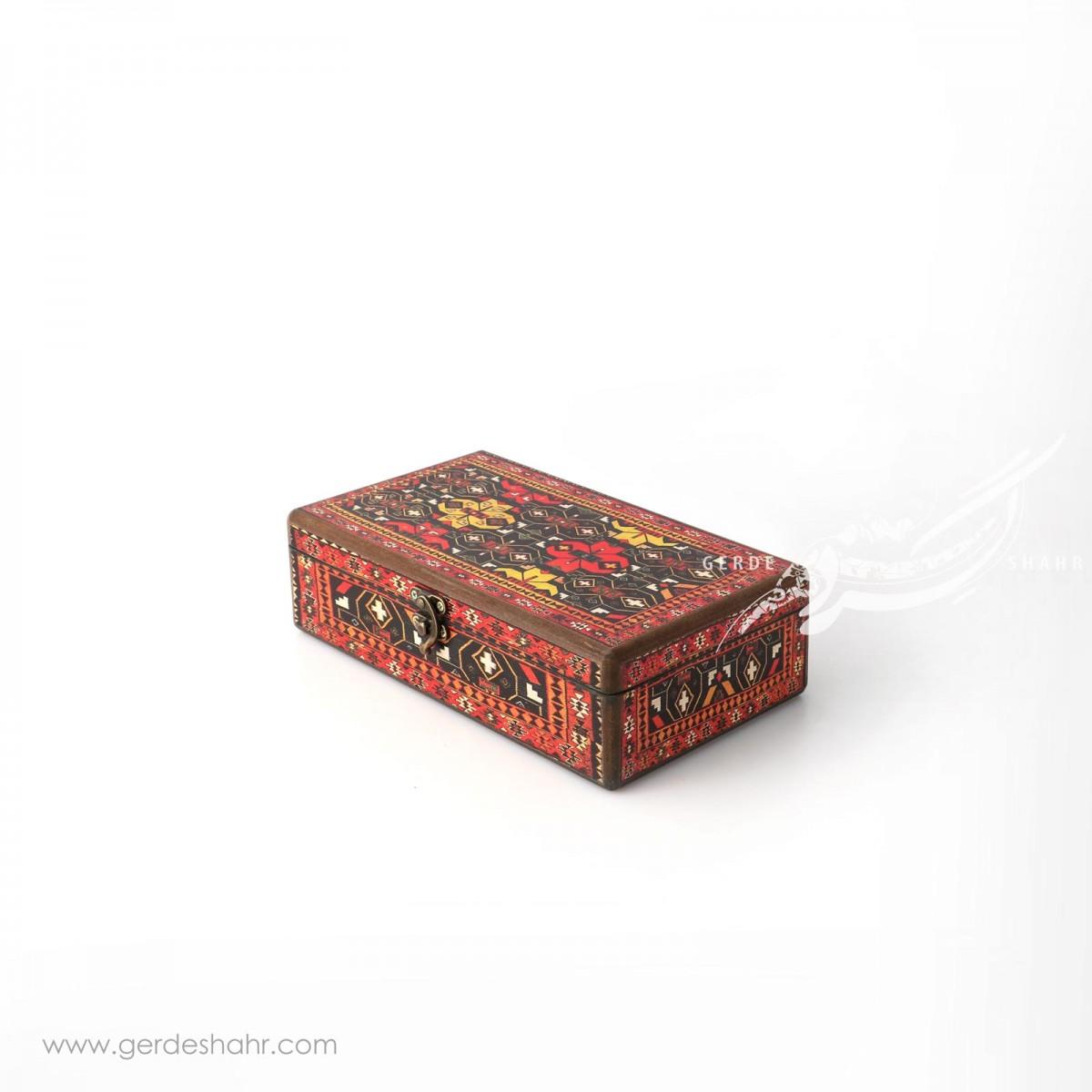 جعبه چوبی جاقاشقی فرشینه هفتگان جعبه و صندوقچه
