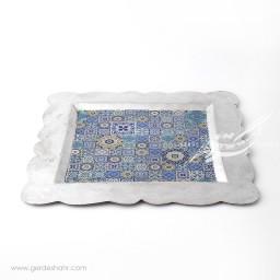 سینی مربع مسی طرح هندسی خاکستری محصولات