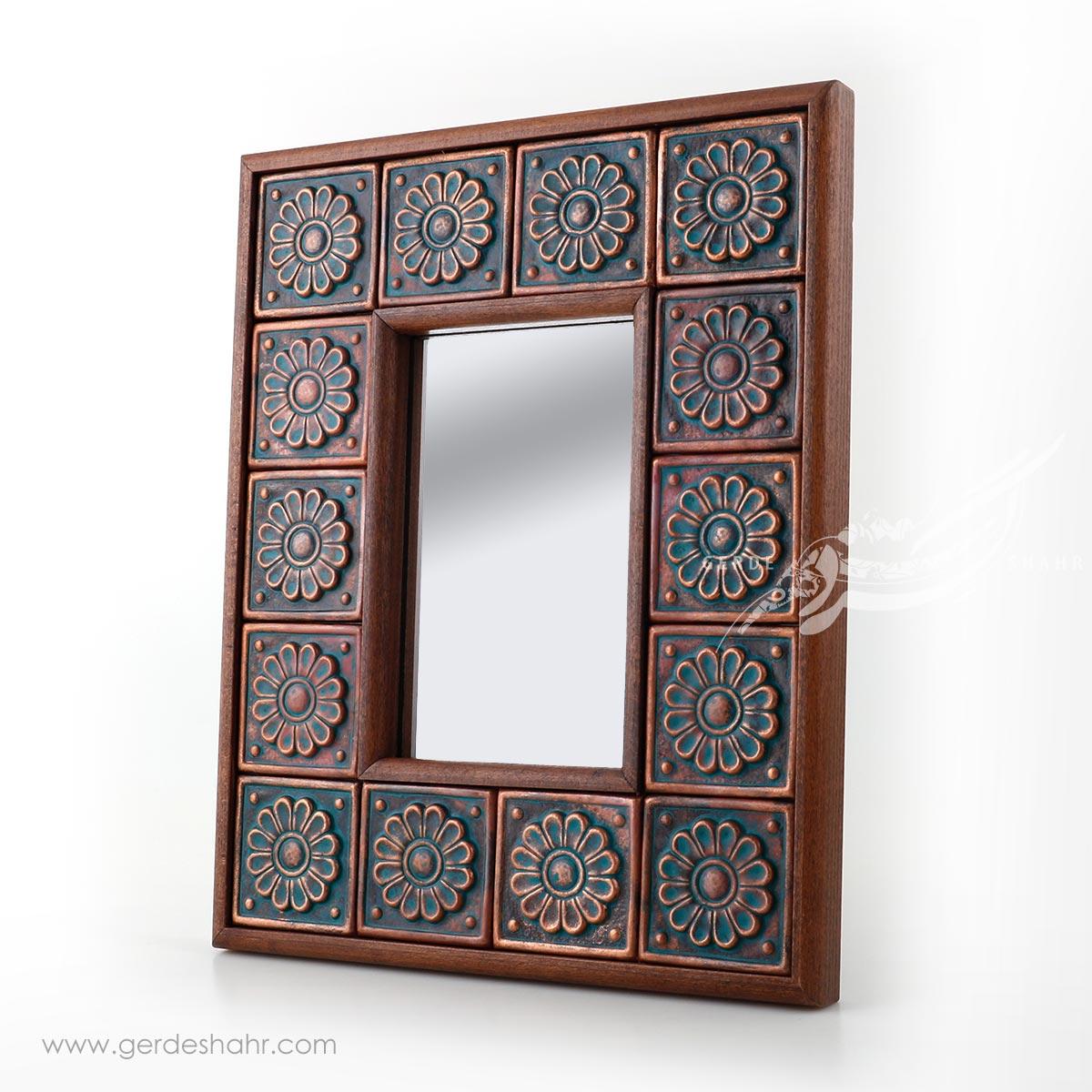 آینه چوبی قاب مسی کیمیاگر محصولات