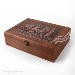 جعبه چوبی قلمزنی مسی نقش پیشکش آوران
