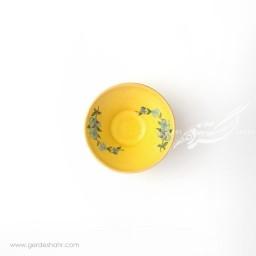 کاسه کوچک زرد با گل آبی سایز 10 ماه فروز محصولات