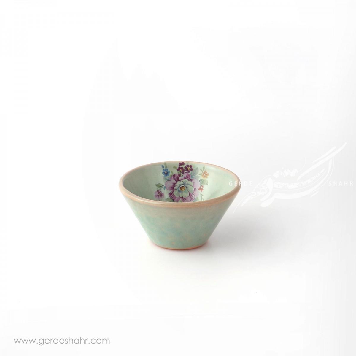 کاسه گود سبز آبی روشن گلدار سایز ۹ ماه فروز محصولات