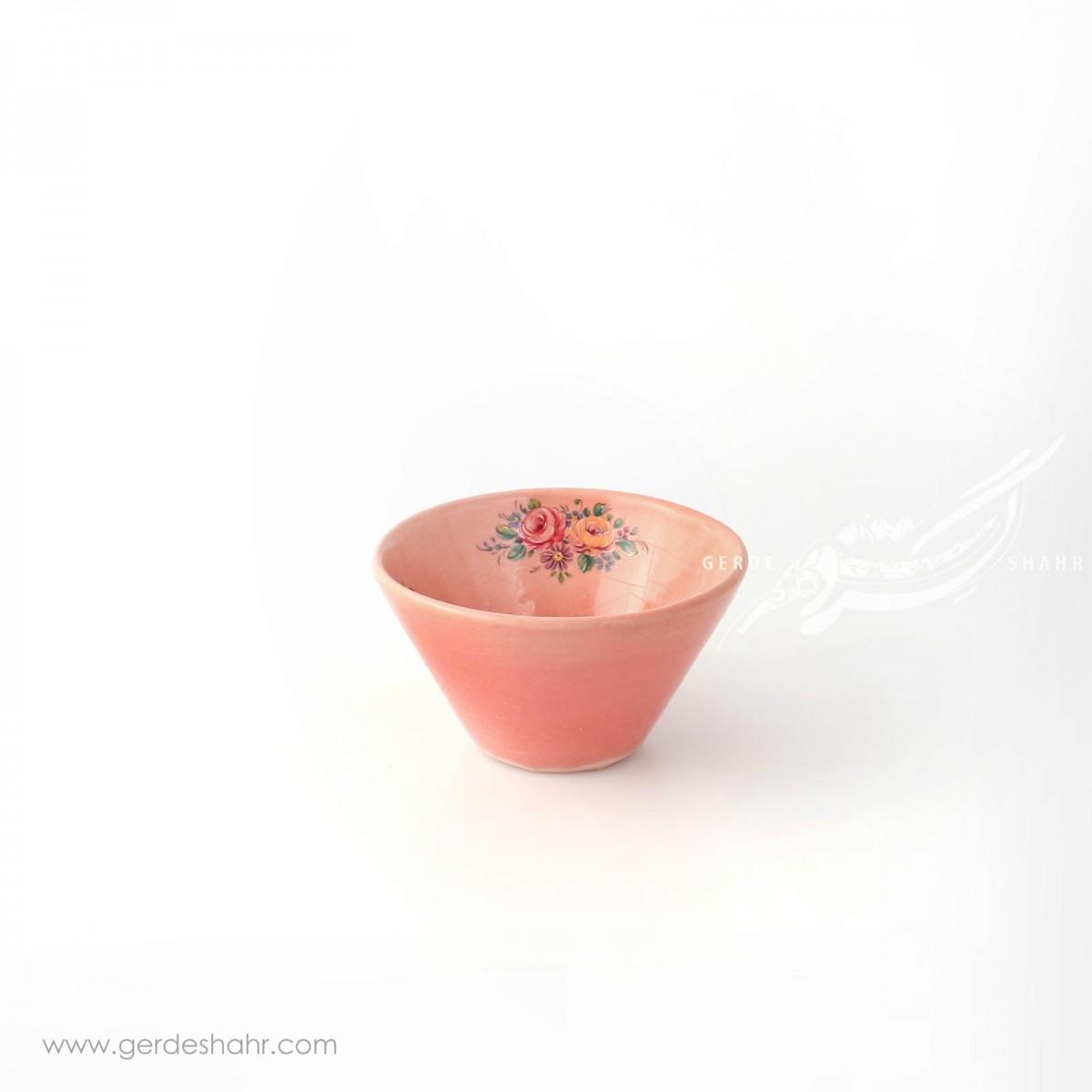 کاسه گود صورتی با گل های رنگارنگ سایز ۹ ماه فروز محصولات