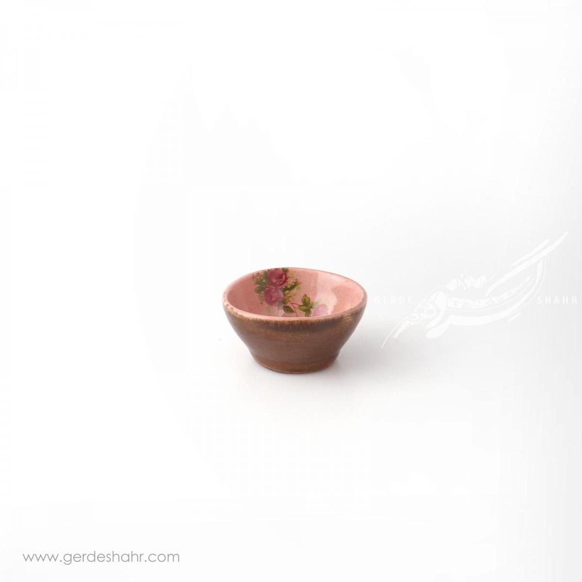 کاسه خیلی کوچک صورتی با گل قرمز سایز7 ماه فروز محصولات