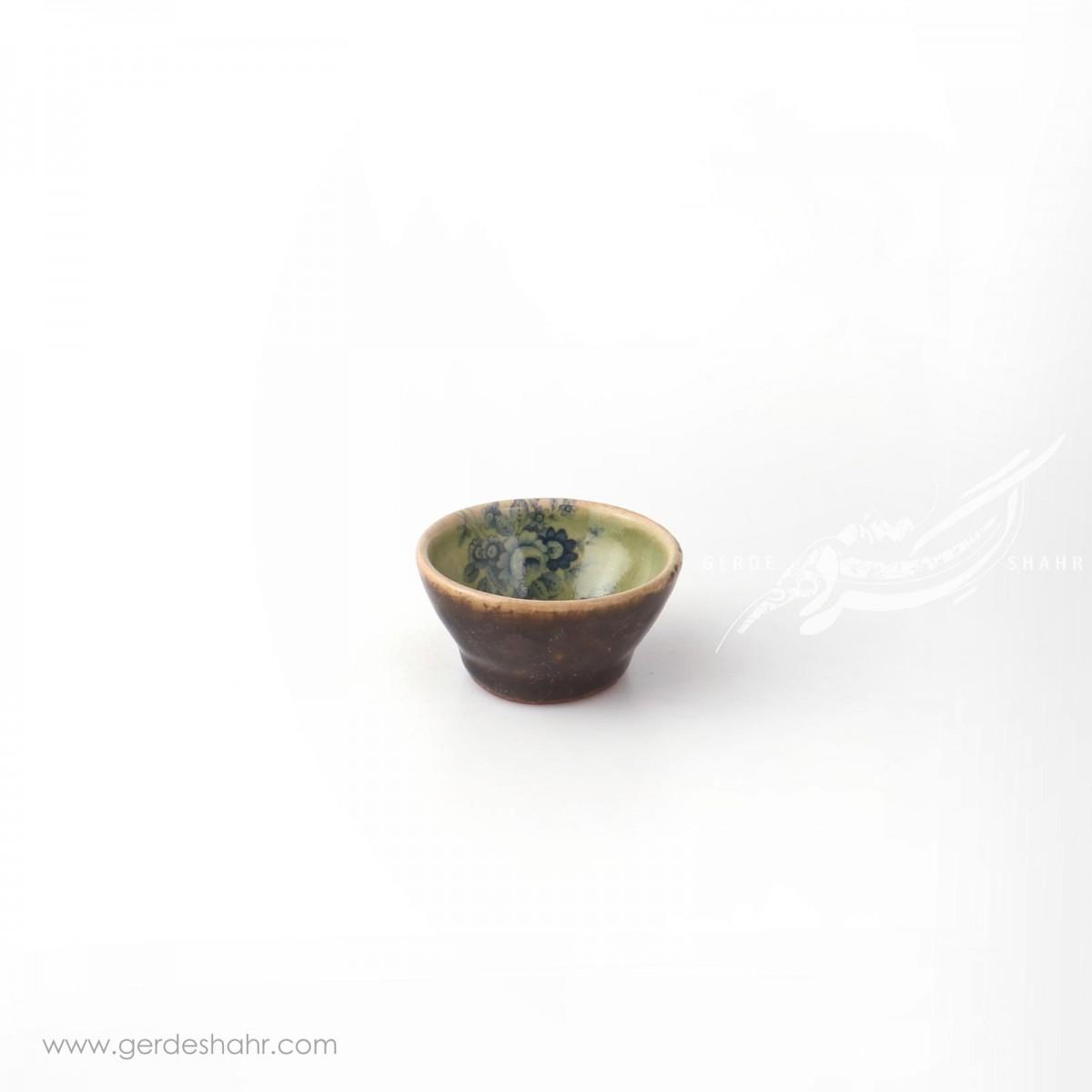 کاسه خیلی کوچک سبز با گل آبی سایز7 ماه فروز محصولات
