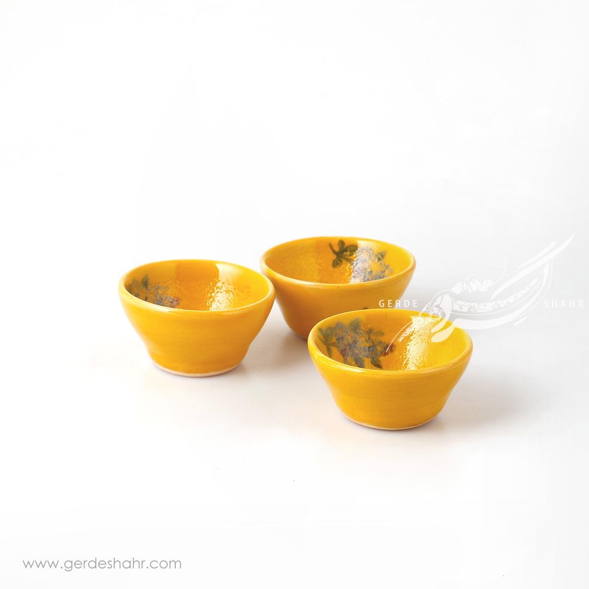 ست سه عددی کاسه خیلی کوچک زرد گلدار ماه فروز محصولات