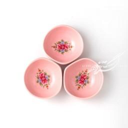 ست سه عددی کاسه صورتی گلدار ماه فروز محصولات