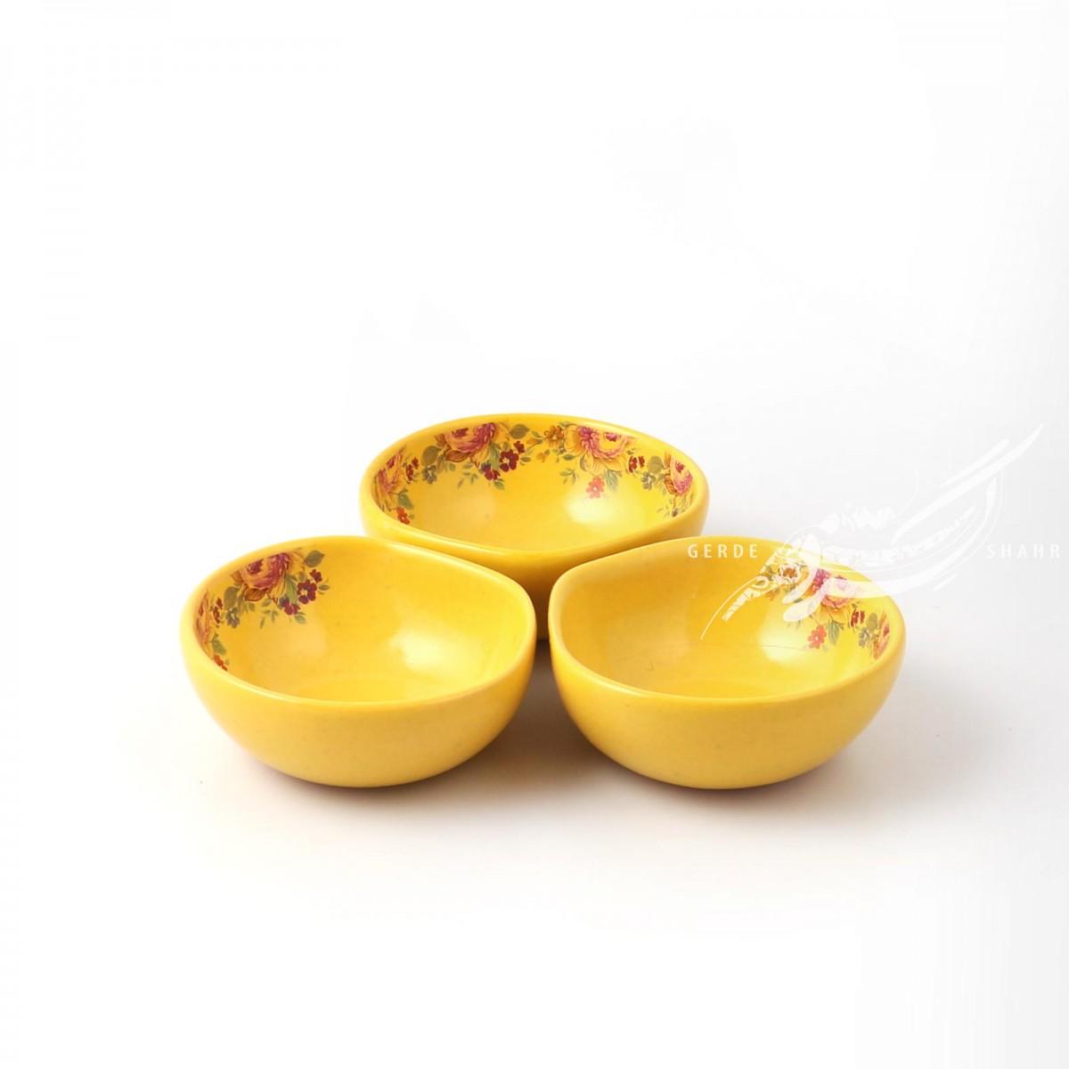 ست سه عددی کاسه زرد گلدار ماه فروز محصولات