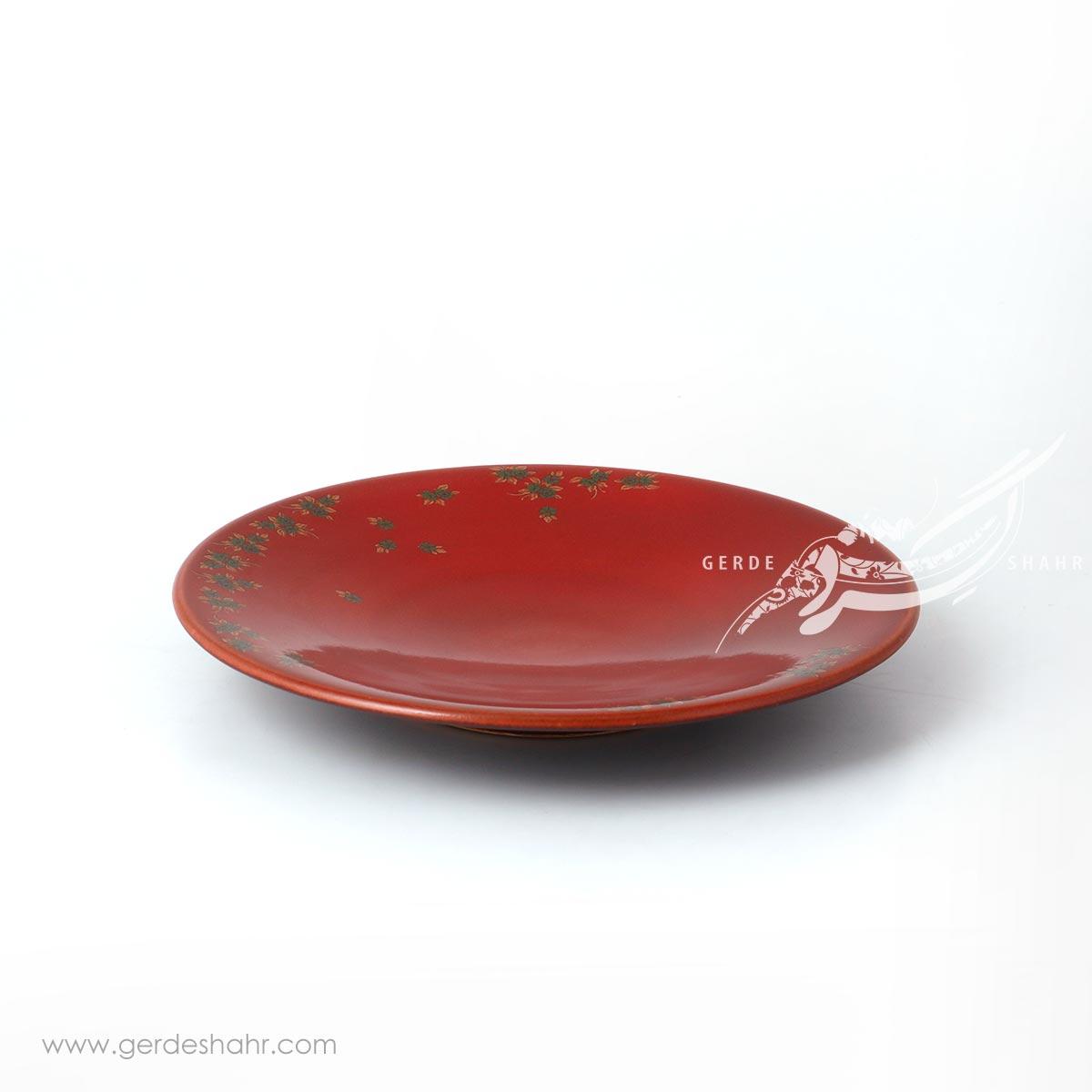 بشقاب دلبر قرمز گلدار ماه فروز محصولات