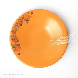 بشقاب دامون نارنجی گلدار ماه فروز