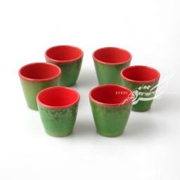 ست 6 عددی فنجان سبز و قرمز ماه فروز محصولات