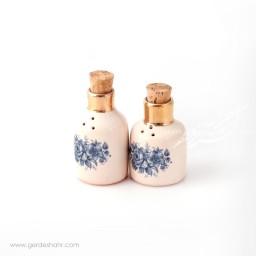 نمکدان و فلفل پاش گلدار لب طلایی ماه فروز محصولات