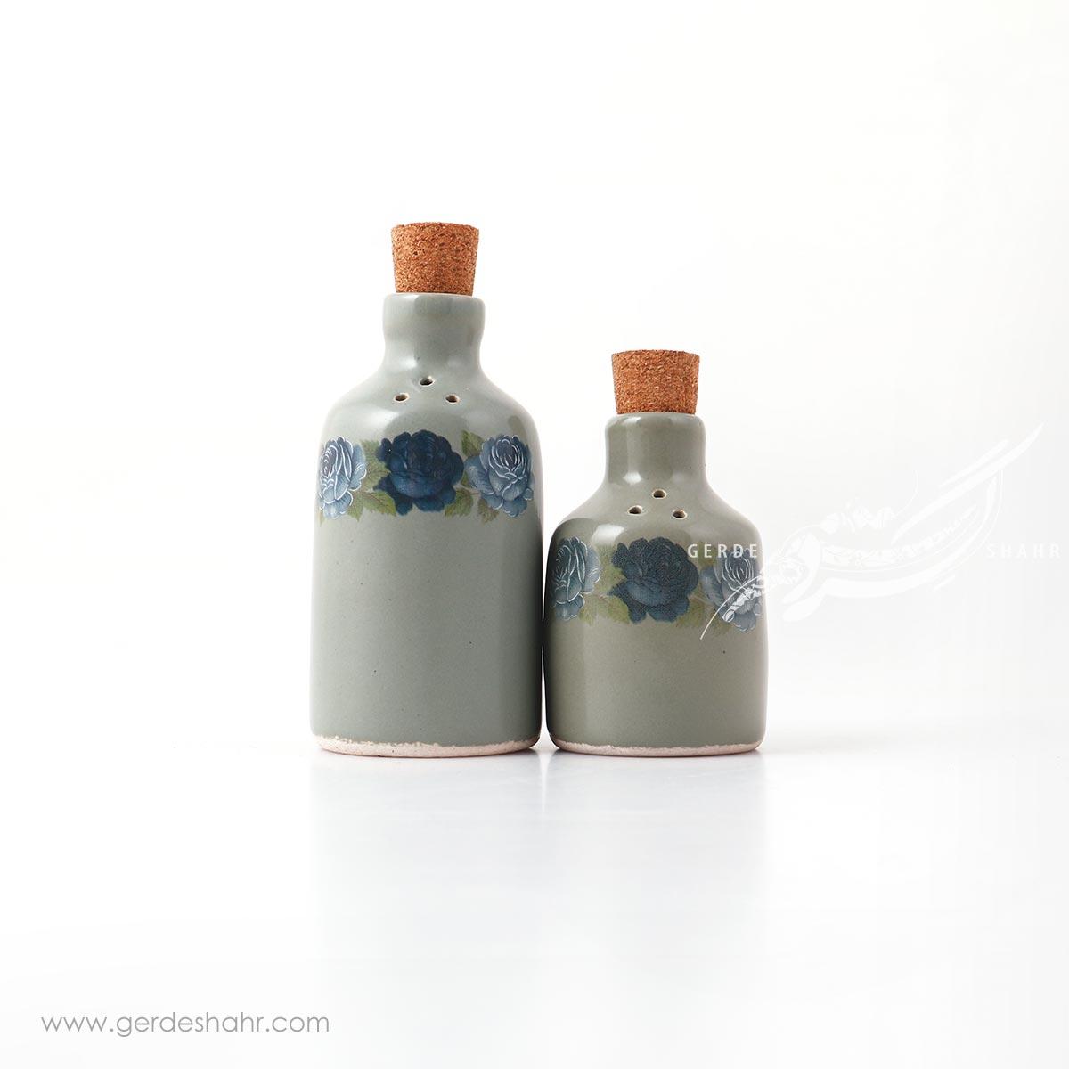 نمکدان و فلفل پاش خاکستری گل دار ماه فروز محصولات