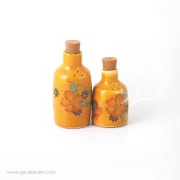 نمکدان و فلفل پاش نارنجی گل دار ماه فروز محصولات