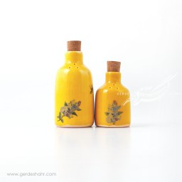 نمکدان و فلفل پاش زرد گل دار ماه فروز محصولات