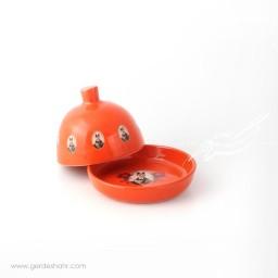 ظرف کره و پنیر نارنجی قاجار ماه فروز ظروف