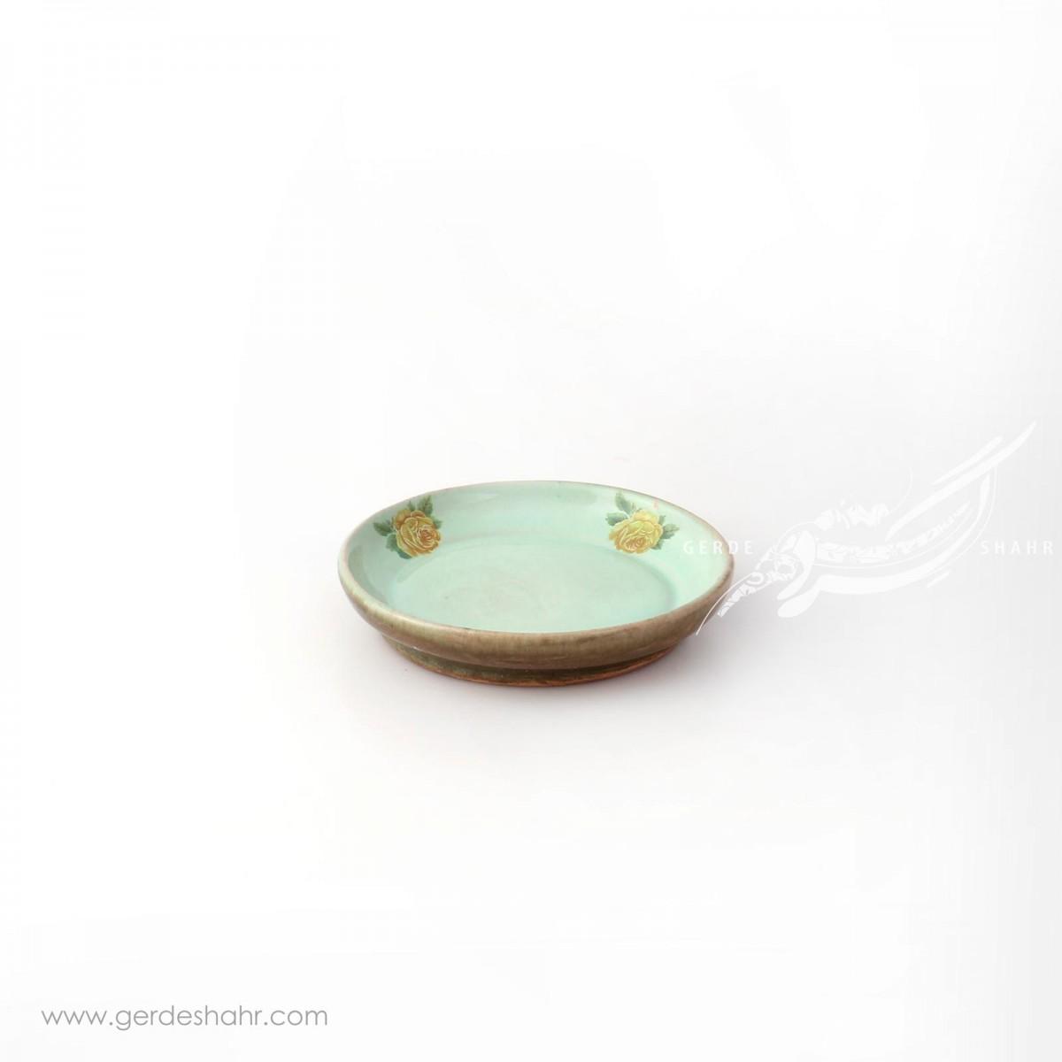 ظرف  کوچک سبز آبی با گل زرد ماه فروز محصولات