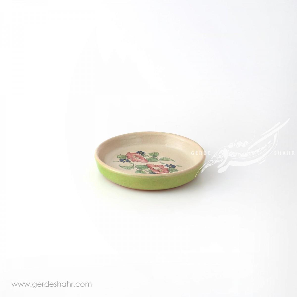 ظرف کوچک کرم با گل های رنگارنگ ماه فروز محصولات