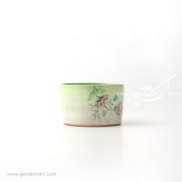 ظرف استوانه ای کوتاه با گل های رنگارنگ ماه فروز محصولات