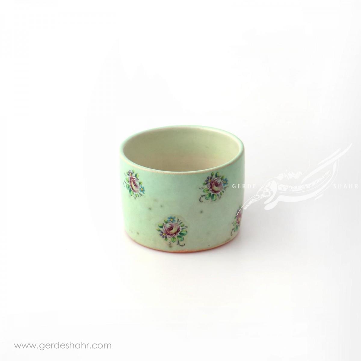 ظرف استوانه ای کوتاه سبز روشن گلدار ماه فروز محصولات