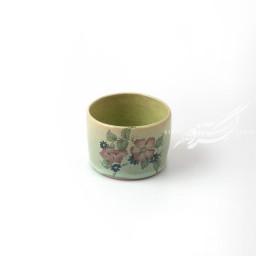 ظرف استوانه ای کوتاه سبز گلدار ماه فروز محصولات