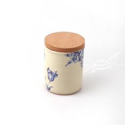 ظرف استوانه ای گلدار کرم دربدار ماه فروز محصولات