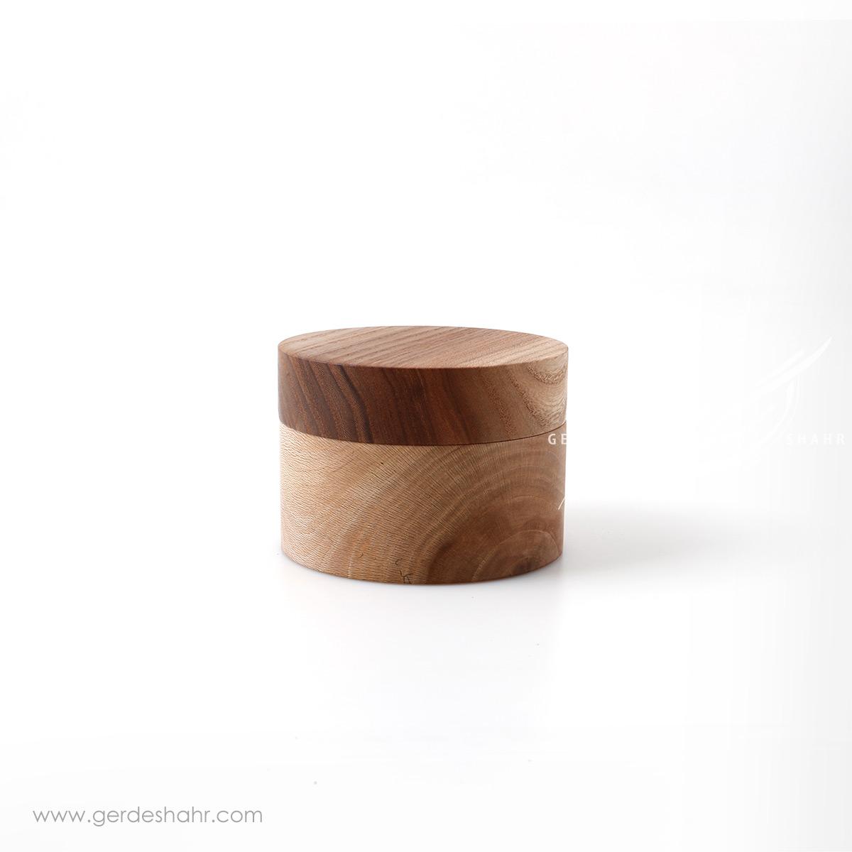 ظرف استوانه ای درب دار چوبی کوچک ناروند