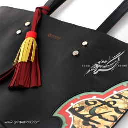 کیف دوشی سیاه مشق چرم نیکو گنجه رخت