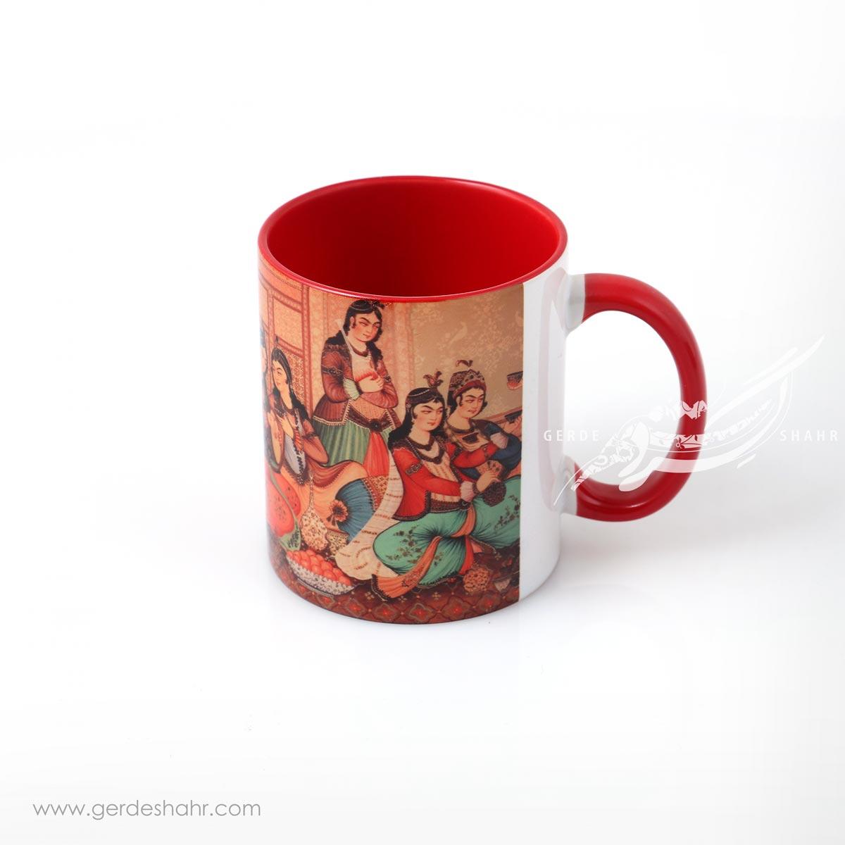ماگ قرمز نقش مینیاتور پیکتومن محصولات