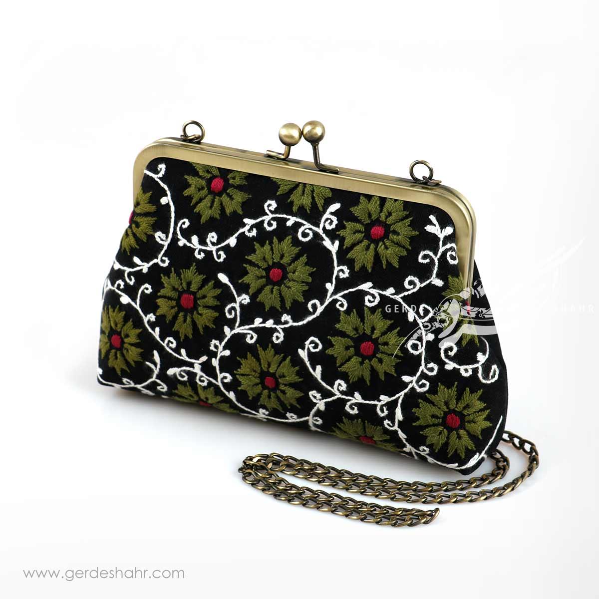 کیف بنددار مشکی گل آفتابگردان سبز راژانه گنجه رخت