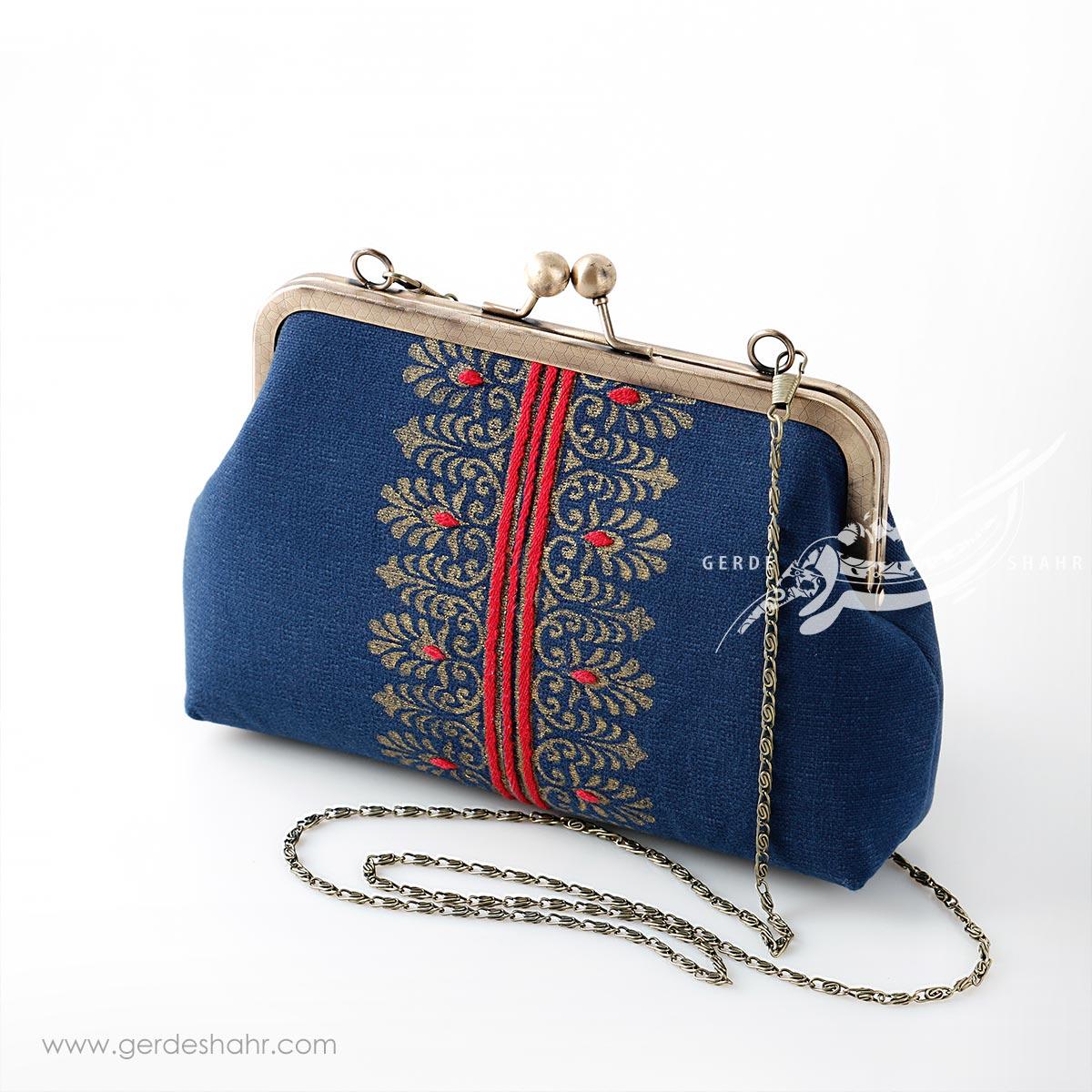 کیف بنددار سورمه ای قلمکار فابیانا راژانه گنجه رخت