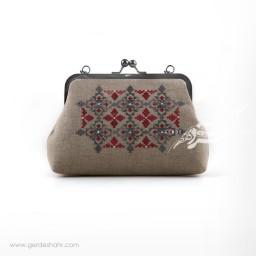 کیف بنددار خاکستری حاشیه خشتی راژانه گنجه رخت