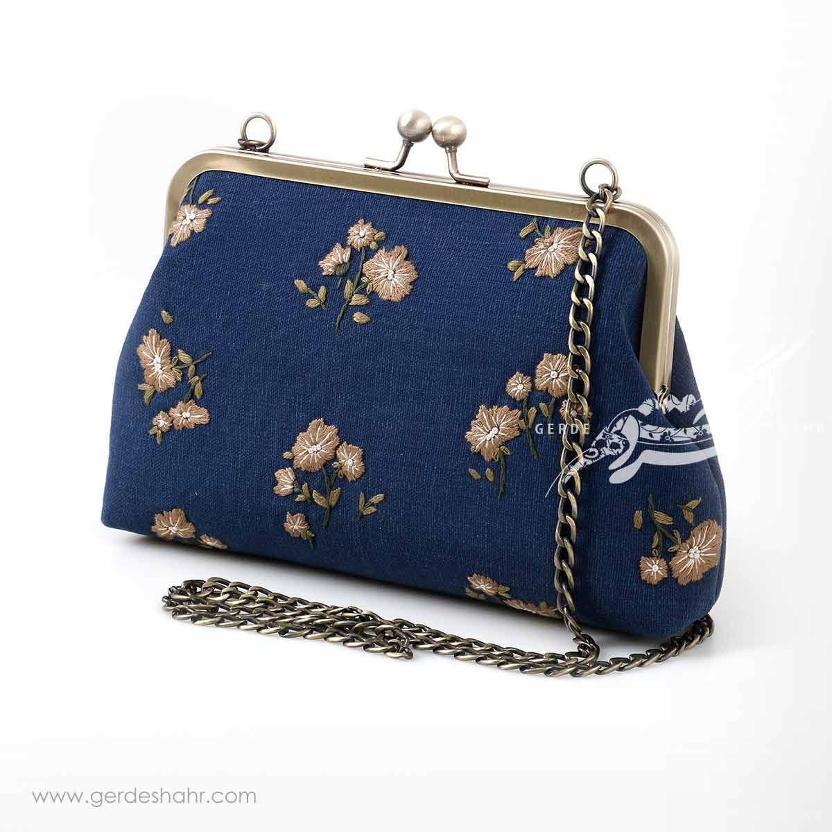 کیف بند دار سورمه ای شکوفه راژانه-rajane