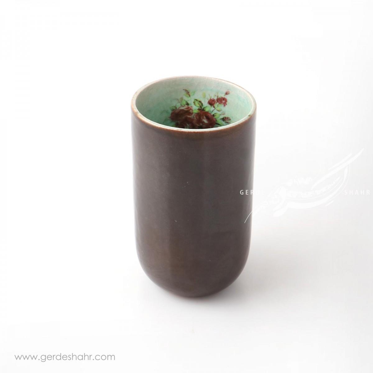 ظرف استوانه ای بلند قهوه ای ماه فروز محصولات
