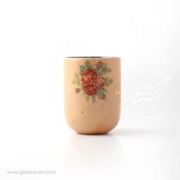 ظرف استوانه ای کرم گلدار ماه فروز محصولات