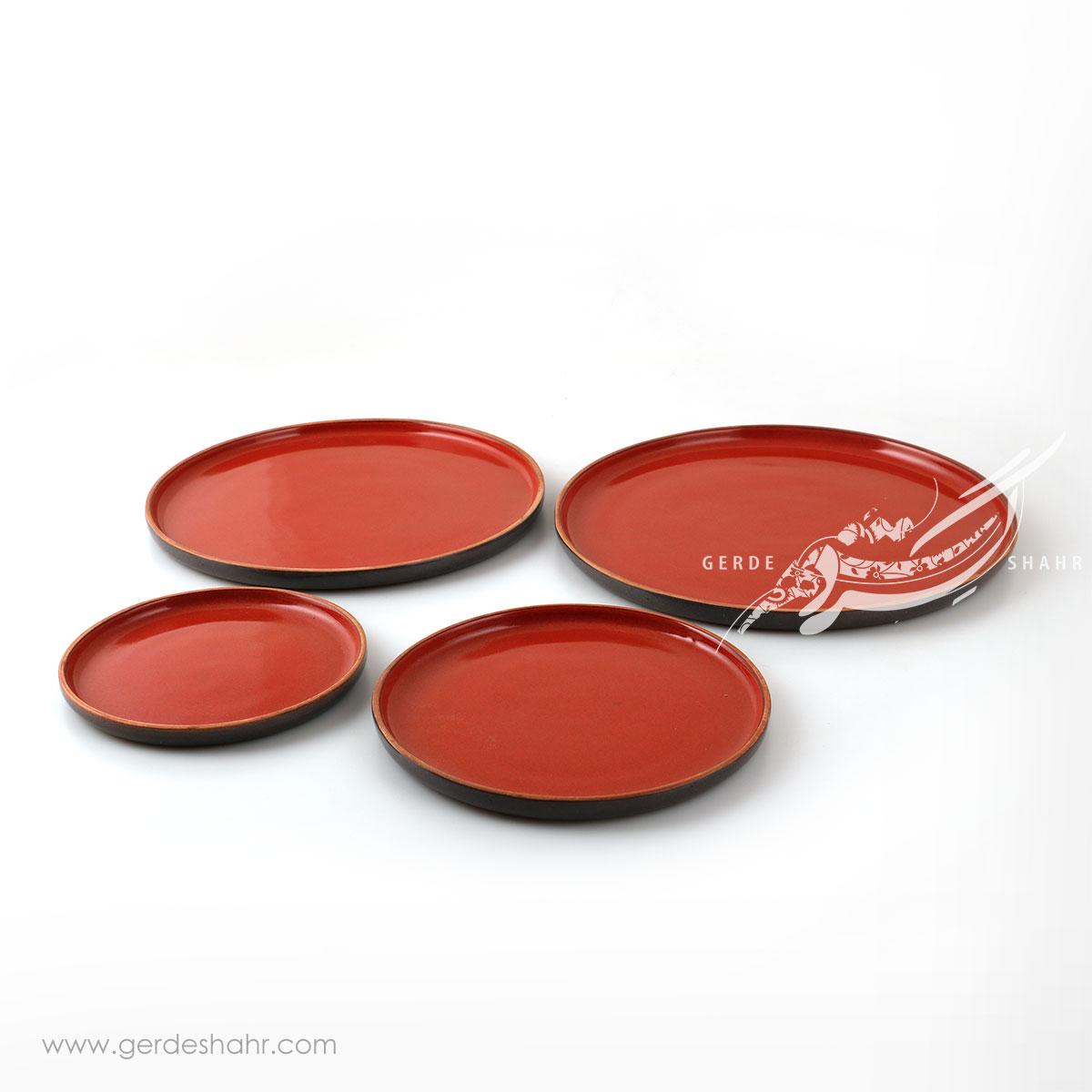 سرویس بشقاب های سرامیکی قرمز اردیبهشت زین دست