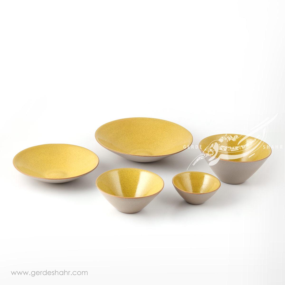 سرویس ظروف سرامیکی زرد مهر زین دست محصولات