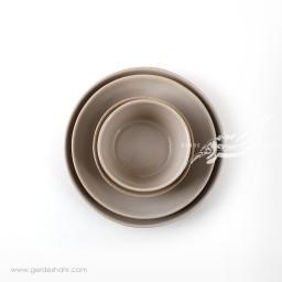 سرویس ظروف سرامیکی کرم خاکستری آذر زین دست محصولات