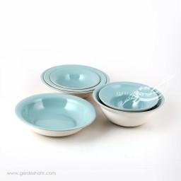 سرویس ظروف سرامیکی فیروزه ای روشن بهمن زین دست محصولات